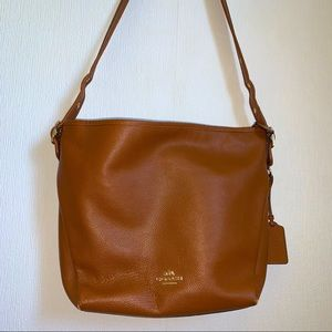Authentic Coach Tan Leather Hobo Tote Purse Bag